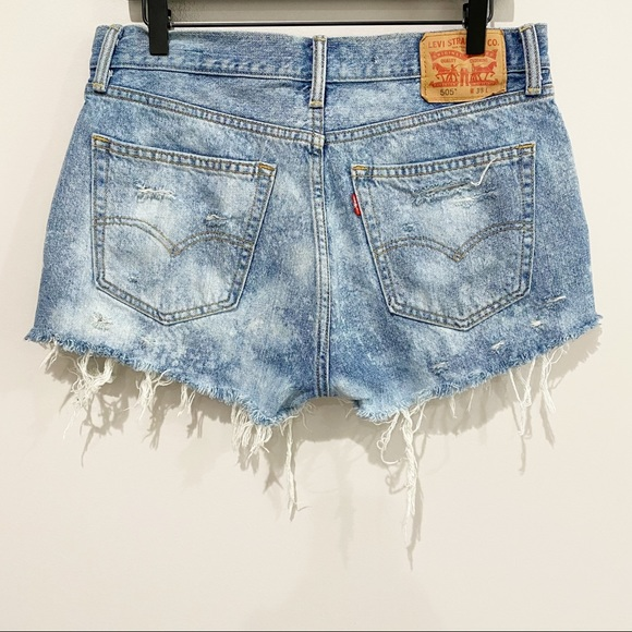 LEVI'S 505 Bleached Distressed Shorts, Size 33